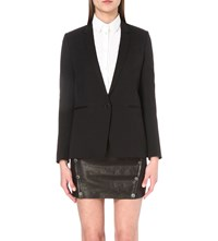 The Kooples Single Breasted Stretch Wool Jacket Black