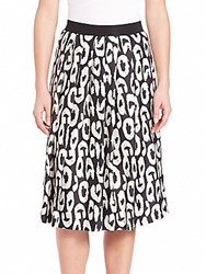 Pauw Printed Silk Skirt Black Off White