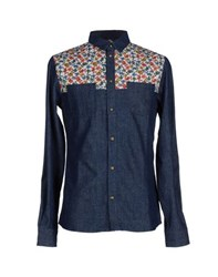 Eleven Paris Denim Denim Shirts Men Dark Blue