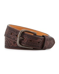 Will Leather Goods Floral Basket Weave Leather Belt Brown
