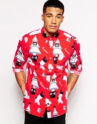 Asos Christmas Shirt In Long Sleeve With Festive Print Red