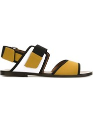 Marni Color Block Flat Sandals Yellow And Orange