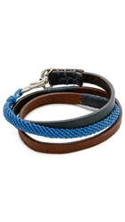 Caputo And Co. Hand Knotted Triple Wrap Bracelet Blue
