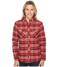 Kuhl Amaya Lined Flannel Shirt Red Spice Women's Long Sleeve Button Up Brown