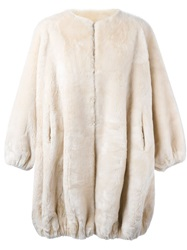 Moschino Vintage 'Fur For Fun' Coat Nude And Neutrals