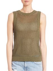 Current Elliott Sleeveless Rope Stitch Top Burnt Olive