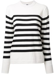 H Beauty And Youth Striped Crew Neck Jumper White