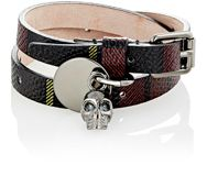 Alexander Mcqueen Tartan Print Leather And Skull Charm Double Wrap Brace Red
