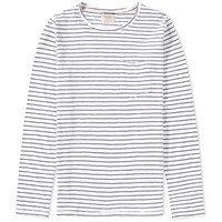Nudie Jeans Long Sleeve Stripe Pocket Tee White