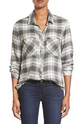Women's Side Stitch Twill Flannel Plaid Shirt Grey Plaid