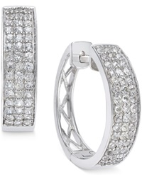 Macy's White Sapphire Hoop Earrings In Sterling Silver 1 2 Ct. T.W.