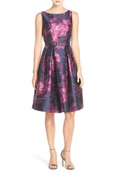 Eliza J Petite Women's Belted Metallic Jacquard Fit And Flare Dress Fuchsia Combo