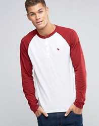 Abercrombie And Fitch Henley Long Sleeve Baseball Top With Contrast Sleeves In Red White Sundried Tom
