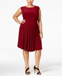 Love Squared Plus Size Pleated Fit And Flare Dress Burgundy
