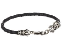King Baby Studio Small Leather Braid W Crowns Silver Black