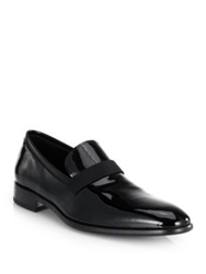 Salvatore Ferragamo Antoane Patent Leather Slip On Loafers Black
