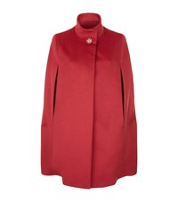 Harrods Of London Wool Angora Stand Collar Cape Female Red