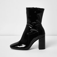 River Island Womens Black Patent Wide Fit Block Heel Boots