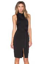 Lavish Alice Cross Strap High Neck Midi Dress Black