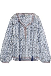 Talitha Printed Cotton And Silk Blend Blouse Blue