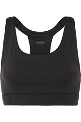 Yummie Tummie Janet Mesh Trimmed Stretch Jersey Sports Bra Black