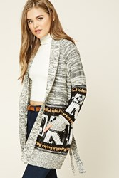 Forever 21 Marled Knit Self Tie Cardigan