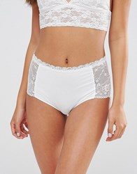 Monki Lace Highwaist Brief Almost White