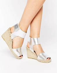 Bronx Espadrille Wedge Leather Sandals Silver