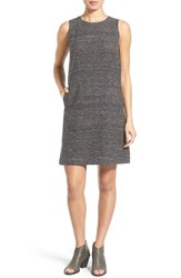 Eileen Fisher Petite Women's Sleeveless Silk And Linen Shift Dress Black