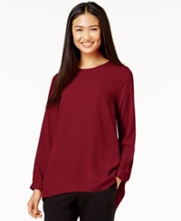 Vince Camuto Pleated Back High Low Blouse Dark Chianti