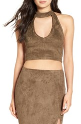Missguided Women's Faux Suede Cutout Crop Top Khaki