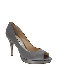 Nina Fiorah Crystal Satin Peep Toe Pumps Silver