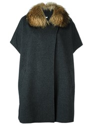 P.A.R.O.S.H. Fur Collar Coat Grey