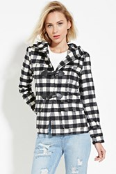 Forever 21 Plaid Flannel Coat Black