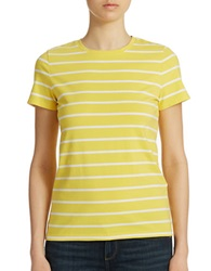 Lord And Taylor Petite Striped Crew Neck Tee Lemon Zest
