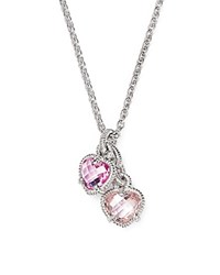 Judith Ripka Sterling Silver Twin Heart Pendant Necklace With Pink Corundum And Pink Crystal 17 Pink Silver