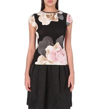 Ted Baker Porcelain Rose Print Jersey T Shirt Black