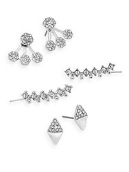 Natasha Mini Three Piece Earring Set Silver