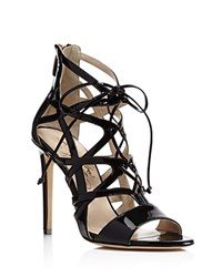 Alejandro Ingelmo Boomerang Cage Lace Up High Heel Sandals Black