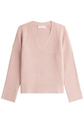 Helmut Lang Wool Cashmere Ribbed Pullover Rose
