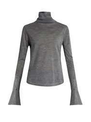 Chloe Wool Silk And Cashmere Blend Roll Neck Sweater Grey