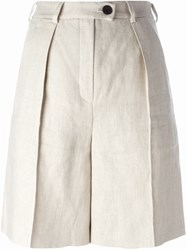 Carven Pleated Shorts Nude And Neutrals