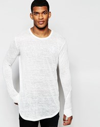 Sik Silk Siksilk Longline Burnout Long Sleeve Fitted T Shirt Ecru