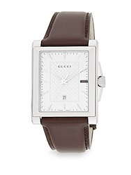 Gucci G Timeless Stainless Steel And Leather Watch Brown Silver