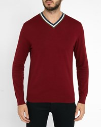 Paul Smith Burgundy Cotton Contrasting V Neck Sweater