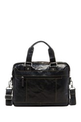 Jack Georges Voyager Double Entry Top Zip Leather Briefcase Black