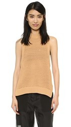 Tibi Crochet Racer Bank Tank Cinnamon Brown
