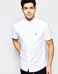 Selected Homme Short Sleeve Oxford Shirt White Navy