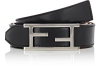 Fendi Men's Logo Buckle Reversible Leather Belt Black Tan Black Tan