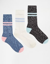 Asos Sports Style Socks 3 Pack With Space Dye Multi